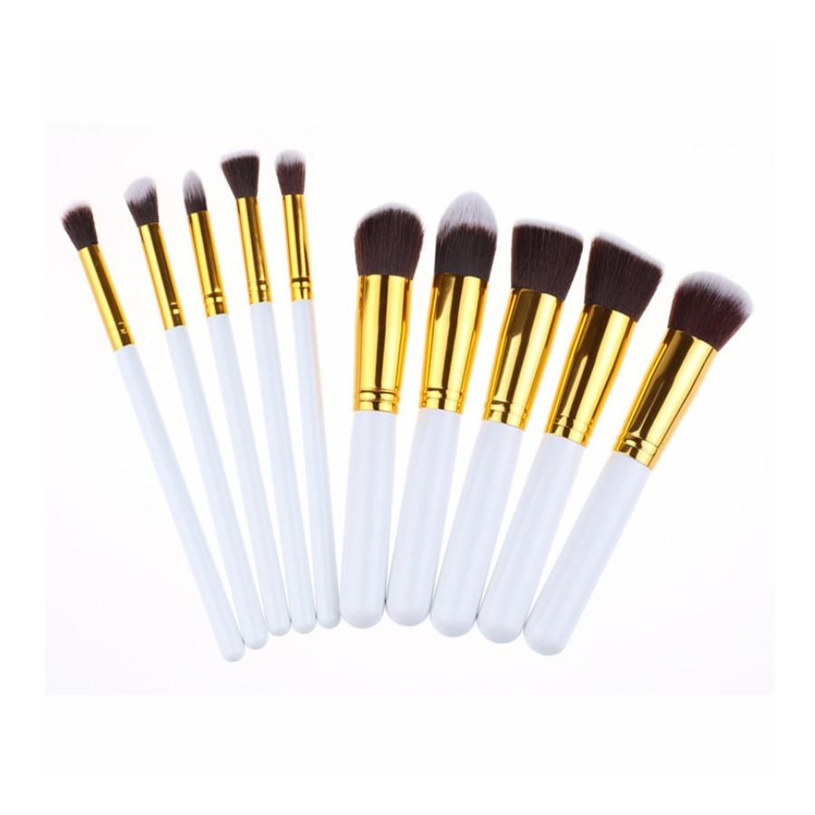 10 Piece White And Gold Kabuki Brush Set 3